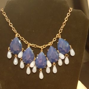 gold and blue tear drop necklace